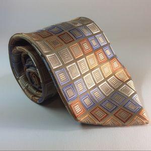 "Michael Kors gold blue square silk tie 59/3.5"""